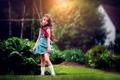 Picture summer, dress, girl, curls, Garden, child photography