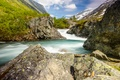 Picture gorge, mountains, Norway, stream, the bushes, for, stones
