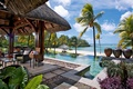Picture the ocean, palm trees, Bungalow, resort, pool