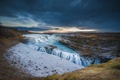 Picture the sky, clouds, sunset, river, waterfall, Iceland, huitou
