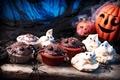 Picture chocolate, spider, Halloween, pumpkin, Halloween, cake, Pumpkin, chocolate, cupcakes, Baking