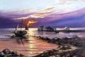 Picture sea, water, landscape, sunset, Wallpaper, shore, boat, figure, seagulls, art, sail, painting