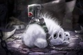 Picture toy, prisoner, leaves, chain, art, rabbit, white, records, fluffy, animal, web, Bunny, button, torture, dust