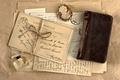 Picture vintage, perfume, retro, Notepad, medallion, letters, vintage