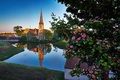 Picture landscape, reflection, river, tree, Denmark, Church, Denmark, Copenhagen, Copenhagen, St Alban's Church