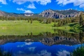 Picture the sky, grass, trees, mountains, lake, reflection