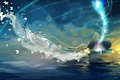 Picture the sky, water, girl, clouds, butterfly, anime, piano, art, vocaloid, hatsune miku, miemia