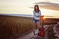 Picture guitar, girl, sunset