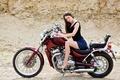 Picture long hair, look, motorcycle, girl