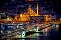 Picture New Mosque, Mosque, excerpt, Istanbul, Istanbul, night, exposure, night, Turkey, new mosque