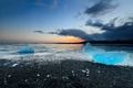 Picture ice, beach, Iceland, Jokulsarlon, sunset