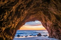 Picture USA, stones, CA, sunset, cave, the ocean, wave, rock, Wallpaper from lolita777, light, Malibu, the ...