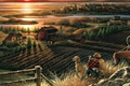 Picture field, autumn, sunset, bridge, river, home, dog, the evening, binoculars, painting, migratory birds, Best Friends, ...