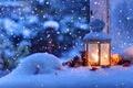 Picture winter, macro, snow, snowflakes, mood, Christmas, lantern