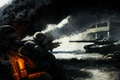 Picture weapons, light, the building, art, soldiers, infantry, ash, smoke, tank