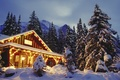Picture forest, light, snow, mountains, house, new year, gerlanda, Tree