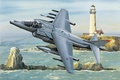 Picture aviation, ww2, Hawker Harrier Jump Jet, painting, airplane, war, art