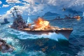 Picture WoWS, World of Warships, The World Of Ships, Sparks, Soviet Cruiser, The sky, Ships, Water, ...