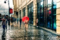Picture girl, rain, umbrella, Saint Petersburg, passers-by