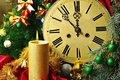 Picture holiday, balls, candle, Watch, tree, bows, Christmas decorations, midnight
