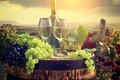 Picture bottle, tube, barrel, glasses, grapes, wine, landscape