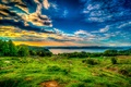 Picture the sky, grass, clouds, trees, sunset, lake, stones