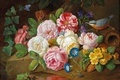 Picture mouse, roses, still life, JOsef Holstayn, bird