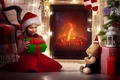 Picture girl, gift, gift, New Year, Christmas, toy, child, New year, Christmas, fireplace