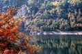 Picture autumn, lake, slope, trees