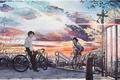 Picture meeting, bike, Japan, the city, watercolor