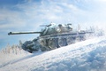 Picture T96E2, WoT, snow, tree, World of Tanks, tank, the sky, gun, clouds, view