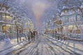 Picture road, street, Christmas, snowman, tree, painting, Christmas, Robert Finale, winter, snow, street, painting, snowman, christmas ...