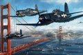 Picture UNITED STATES AIR FORCE, ships, Golden Gate Bridge, the plane, carrier-based fighter, the Golden gate ...