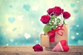 Picture heart, roses, package, Valentine's Day, gypsophila