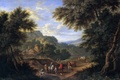Picture picture, trees, Adrian Frans Boudewyns, people, A landscape with Travelers