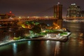 Picture bridge, New York, bridge, New York, city, night, night, building, waterfront, USA