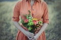 Picture flowers, dress, girl, bouquet