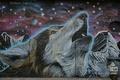Picture graffiti, wall, background, Graffiti, wolf, face, stars