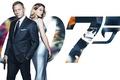 Picture poster, 007: RANGE, SPECTRE, in black, agent, dress, gun, background, Lea Seydoux, blonde, Lea Seydoux, ...