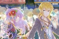 Picture girl, decoration, flowers, lights, people, holiday, wire, anime, headphones, art, guy, amatou