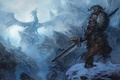 Picture dragon, The Elder Scrolls, snow, mountains, Skyrim, warrior, armor