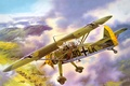 Picture earth, aircraft, mountains, airfield, WW2, Hs.126А-1, German, the plane, middle, tents, figure, scout, the sky, ...