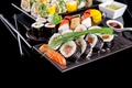 Picture greens, bow, sushi, rolls, filling, Japanese cuisine