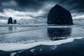 Picture Cannon Beach, Pacific Northwest, storm, beach, shoreline, Oregon, haystack, haystack rock, foam, clouds, stormy, Pacific ...