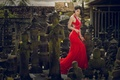 Picture style, Asian, girl, statues, dress, red dress