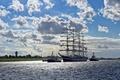 Picture sea, clouds, ships, breeze, Russia, Frigate