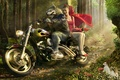 Picture wolf, motorcycle, little red riding hood