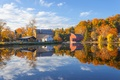 Picture the sky, clouds, trees, lake, reflection, home, village, mirror, the countryside, solar, Canoeing