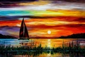 Picture sea, picture, florida, leonid afremov, boat, sunset