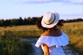 Picture field, summer, girl, hat, Mike, meadow, path
